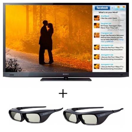 LED EX725 40'' 3D + 2 Óculos 3D Sony, VD
