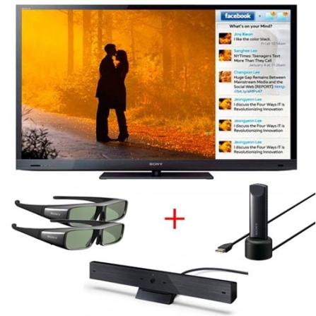 LED 46'' +Câmera +2 Óculos 3D +Adaptador USB Sony, VD