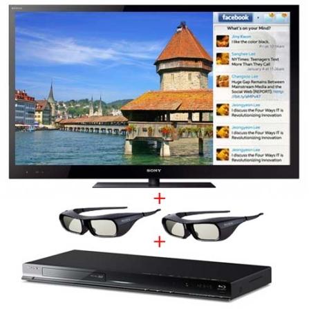 TV LED 46'' 3D + Blu-ray 3D + 2 Óculos Sony, VD