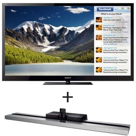 LED 55'' 3D c/ Skype + Base Monolítica Sony, VD