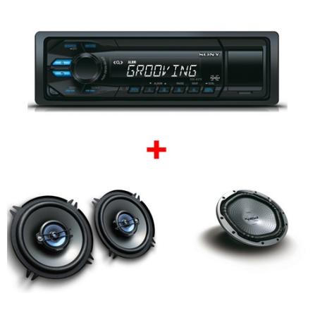 Som Automotivo Sony Xplod DSXAS37 com Potência de 26W x 4, Black Out e Entrada USB Frontal + Alto Falante Coaxil Sony XS-GT1730