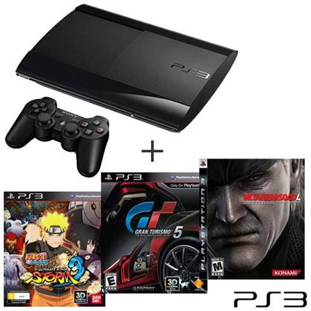 Console Playstation 3 250GB Preto + Jogo Metal Gear Solid 4: Guns of the Patriots + Jogo Gran Turismo 5 + Jogo Naruto Sh