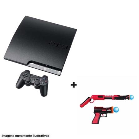 Console Playstation 3 160GB Preto para PS3 + Combo Vermelho e Preto com Pistola e Rifle  para PlayStation Move, GM