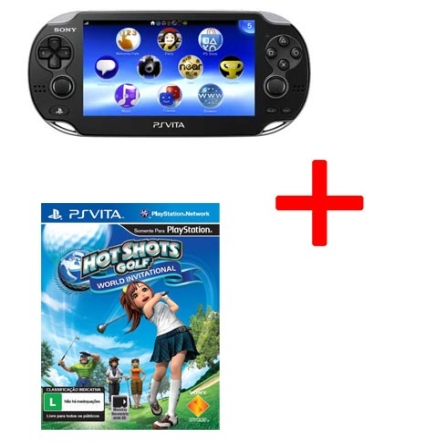 Playstation Vita Preto + Jogo Hot Shots World Invitational para PS Vita, GM