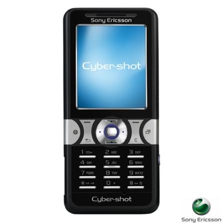 Celular GSM K550 Preto CyberShot com Câmera 2.0MP / Rádio FM / MP3 Player / Bluetooth / Cartão de 128MB - Sony Ericsson