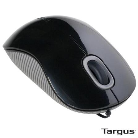 Mouse Óptico USB Targus AMU76 com Cabo Retrátil, Uso Ambidestro e 1000 dpi