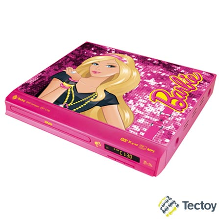 DVD Player Tec Toy Compact Barbie DVT-C130 com Entrada USB e Função Ripping