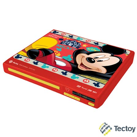DVD Player Tec Toy Compact Mickey DVT-C151 Vermelho com Entrada USB e Função Ripping
