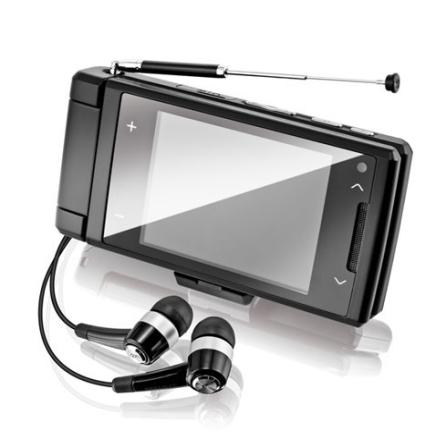Celular V820 Preto com Tecnologia 3G e GSM / Sintonizador de TV Digital / Câmera 2.0 MP / Display Giratório / MP3 Player