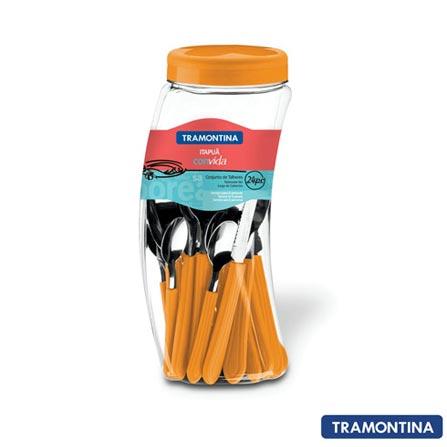 Conjunto de Talheres Itapuã com 24 Peças Laranja - Tramontina - 23199456