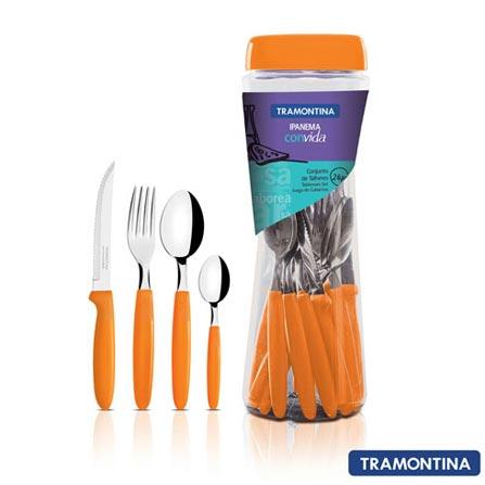 Conjunto de Talheres Ipanema com 24 Peças Laranja - Tramontina - 23399491