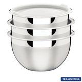Jogo de Potes em Inox com Tampa Plástica 03 Peças Cucina - Tramontina - 64220710