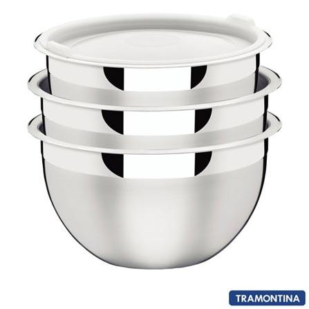Jogo de Potes em Inox com Tampa Plástica 03 Peças Cucina - Tramontina - 64220710, Não se aplica, Inox, 3
