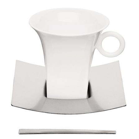 Jogo para Cappuccino com 6 Peças em Porcelana e Aço Inox - Germany Tramontina - 64380_300
