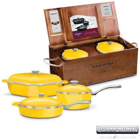 Conjuntos de Panelas em Alumínio Lyon 3 Peças Amarelo - Tramontina Design Collection – 20999531