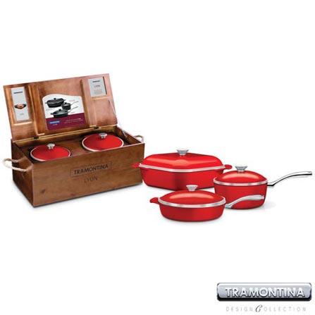 Conjuntos de Panelas em Alumínio Lyon 3 Peças Vermelho - Tramontina Design Collection – 20999731