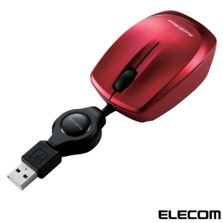 Mouse Óptico Elecom BlueLed M-BL1UBRD com cabo Retrátil Vermelho