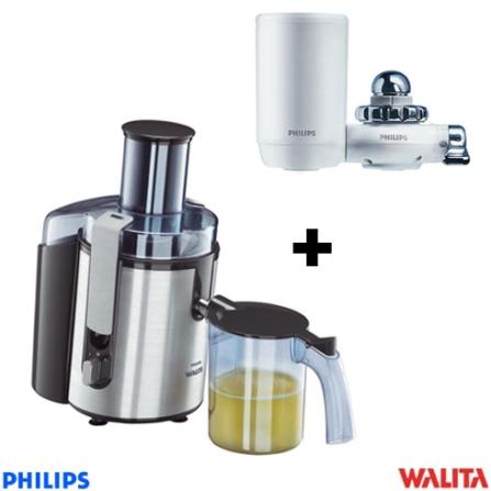 Centrífuga 700W Aluminium Walita + Filtro de Água Portátil Philips - CJ1861W3811