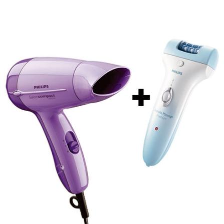 Depilador Satinelle Massage Premium + Secador de cabelos Compact 1000W - Philips - CJ6490SEC482