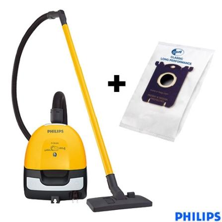 (Furo estoque) Aspirador de Pó Portátil Electric Sweeper Amarelo + Saco coletor para aspiradores de pó Philips - CJ82038021