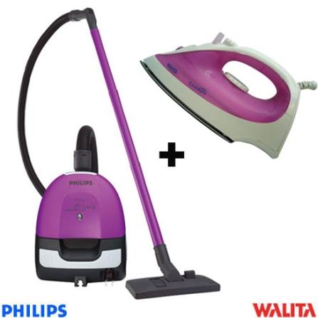 Aspirador de Pó Portátil Electric Sweeper Purpura Philips + Ferro a Vapor Comfort Branco e Rosa Walita - CJFC82081117