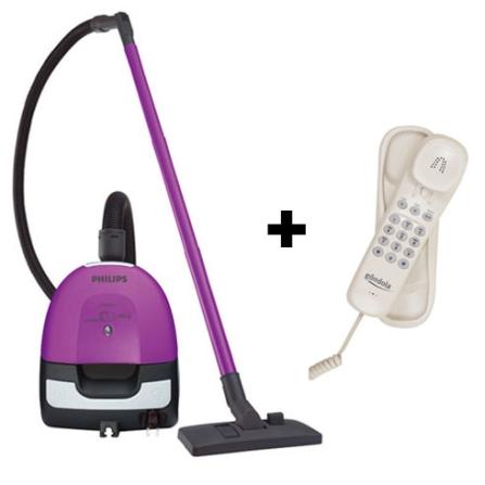 Aspirador de Pó Portátil Electric Sweeper Purpura - Philips + Telefone com Fio Gôndola Perola - Intelbras - CJFC8208_TEL, 110V