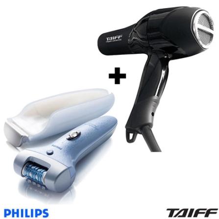 Depilador Satinelle Ice Premium Philips + Secador de Cabelo Profissional Flash Ceramic - Taiff - CJP6501FLASH